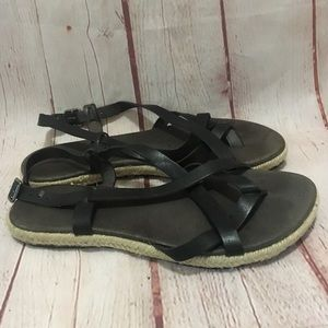LL Bean black leather strappy sandal rope side 8